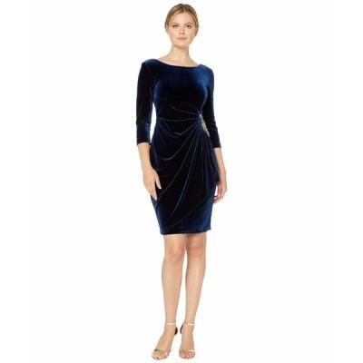 アレックスイブニングス ワンピース トップス レディース Short Velvet Dress with Beaded Hip Detail Imperial