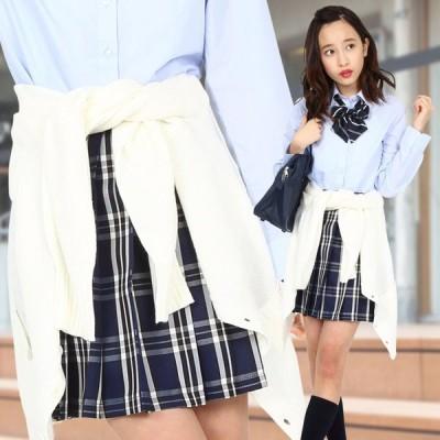 TEENS EVER 16SS 無地 プリーツスカート(紺×白 Lサイズ) スクールスカート 制服 無地 女子 レディース 高校生 中学生 学校 4560320864516