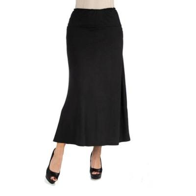 24セブンコンフォート レディース スカート ボトムス Women's Elastic Waist Solid Color Maxi Skirt