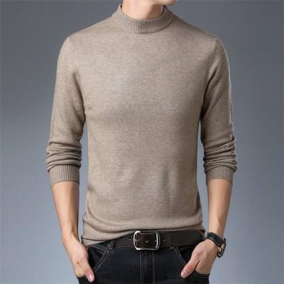 メンズ ニット セーター トップス 長袖 トレンド 無地 秋冬 スリム カジュアル ファッション ルーズ おしゃれ 大きいサイズ