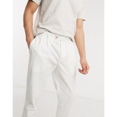 ジアーフラウド メンズ カジュアルパンツ ボトムス Gianni Feraud white linen pleated pants White
