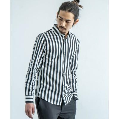 (Rocky Monroe/ロッキーモンロー)カジュアルシャツ メンズ ワイシャツ 白シャツ ホリゾンタルカラー ワイドカラー 無地 ストライプ 春 シンプル ビジネス 日本製 国産 6766/メンズ ブラック系2