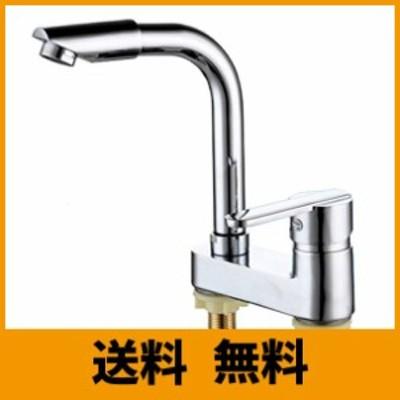 Life System ツーホール式 洗面用 シングルレバー 混合水栓 手洗いボウル用 360° 回転 蛇口 洗面台 SK101 (ツーホール式)