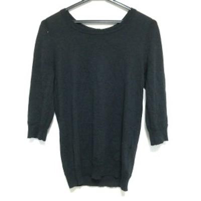 マーガレットハウエル MargaretHowell 七分袖セーター サイズ2 M レディース 美品 - 黒×ダークグレー【中古】20210302