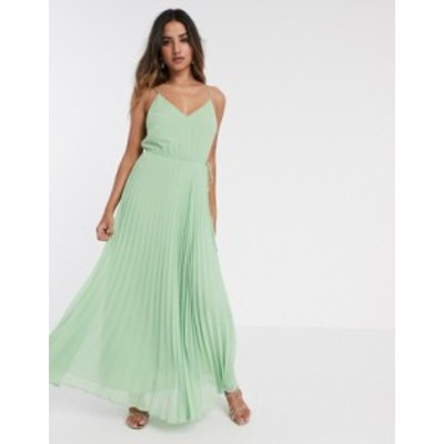 エイソス レディース ワンピース トップス ASOS DESIGN pleated cami maxi dress with drawstring waist in sage green Sage green