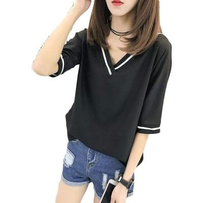 [もうほうきょう]レディース シフォン tシャツ Vネック 無地 トップス ゆったり 夏服 大きいサイズ (XL ブラック)