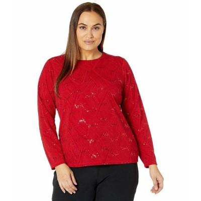 マイケルコース ニット&セーター アウター レディース Plus Size Sequin Jacquard Long Sleeve Top Red Currant