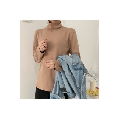 【送料無料】韓国風 厚さプラス ハイネック 長袖Tシャツ 女 秋 着やせ 暖かい 単 | 364331_A63920-2946482