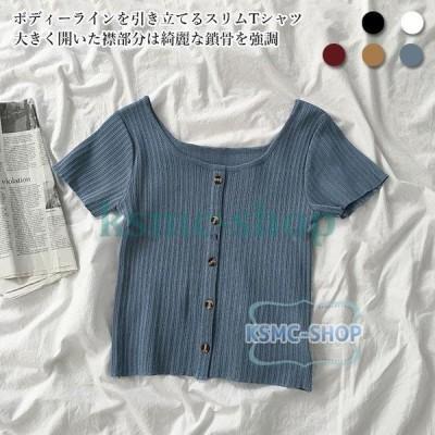 Tシャツ 半袖 レディース スリムTシャツ ニット 薄手 半袖Tシャツ 夏 ニットTシャツ ストレッチ性 リブTシャツ サマーTシャツ 薄手ニット