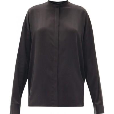 ハイダー アッカーマン Haider Ackermann レディース ブラウス・シャツ スタンドカラー トップス Dali stand-collar silk-charmeuse blouse Black