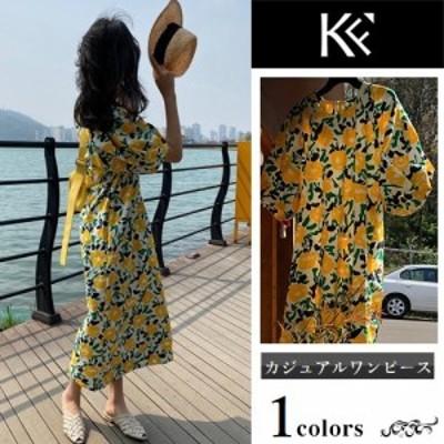 ワンピース レディース 40代 きれいめ 50代 30代 上品 ドレス ゆったり 花柄 ロング パフスリーブ