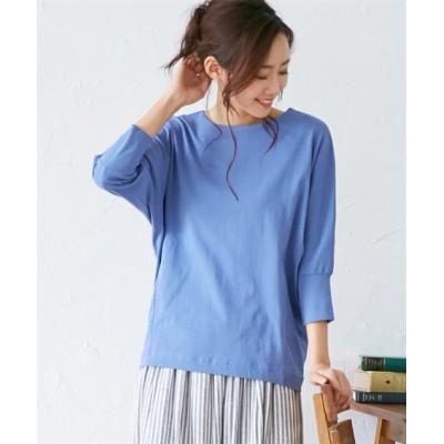 UVカット 綿ヘビーウエイト7分袖トップス (Tシャツ・カットソー)(レディース)T-shirts,