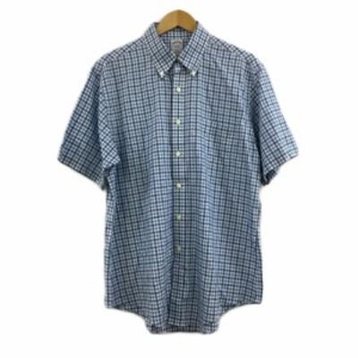 【中古】ブルックスブラザーズ シャツ ボタンダウン チェック 半袖 L 白 水色 ホワイト ライトブルー メンズ
