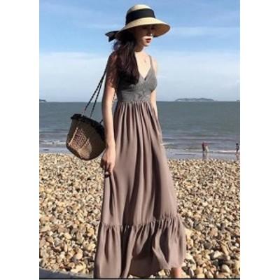キャミワンピース  Aライン ワンピース 大人 可愛い 人気 ワンピース 夏 大きいサイズ 女子会 ロングスカート vネック