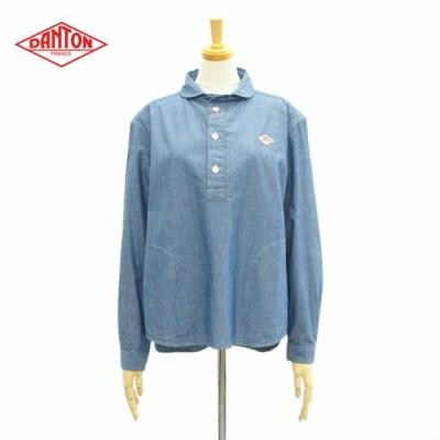 ダントン JD-3564COC プルオーバーシャツ ラウンドカラー 長袖シャツ シャンブレー 丸襟 インディゴ レディース DANTON