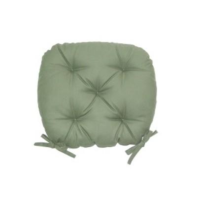 バテイ型 シートクッション/座布団 〔モスグリーン〕 厚み6cm 紐付き 洗える 日本製 〔送料無料〕