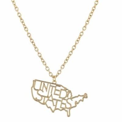 ネックレス Lux Accessories NY TX FL CA US アメリカの州を模ったメタル製ノベルティチャームネックレス