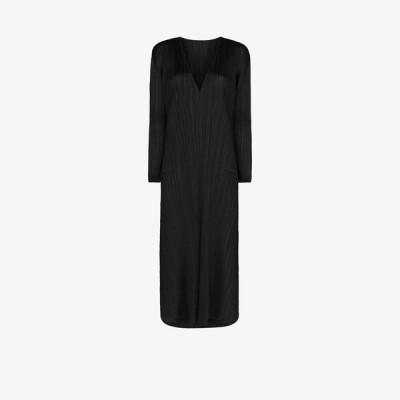 プリーツ プリーズ イッセイ ミヤケ Pleats Please Issey Miyake レディース パーティードレス Vネック ミドル丈 V-neck plisse midi dress black