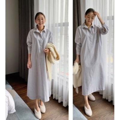 ストライプ シャツワンピース 春夏 韓国 ファッション レディース 長袖 大きいサイズ ロング ワンピース オーバーサイズ ゆったりワンピ