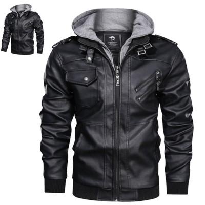 ライダースジャケット PUレザー フード付き 男性 ライダース コート ブルゾン バイクジャケット 春物 ジップアップ フード取り外し可 欧米風 大きいサイズ 長袖
