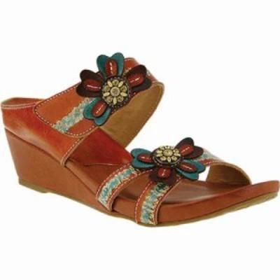 スプリングステップ サンダル・ミュール Bacall Wedge Slide Camel Leather