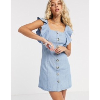 トップショップ レディース ワンピース トップス Topshop denim ruffle mini dress in mid wash Blue