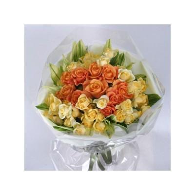 花束 黄色とオレンジ色のバラ