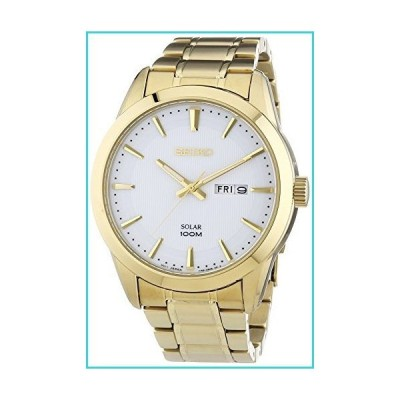 Seiko Solar SNE366 Mens Wite Dial Stainless Steel Gold Tone Watch【並行輸入品】