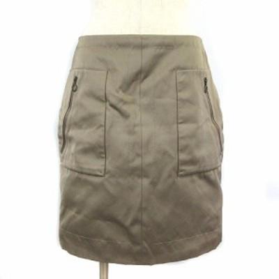 【中古】ドゥロワー Drawer スカート ひざ丈 サテン 台形 シャイニー ベージュ 38 レディース