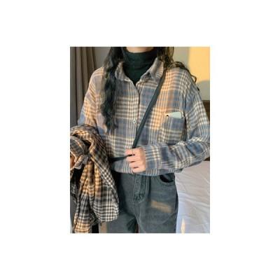 【送料無料】冬 韓国風 レトロ デザイン 感 小 グリッドシャツ ルース 手 | 364331_A64518-9038840