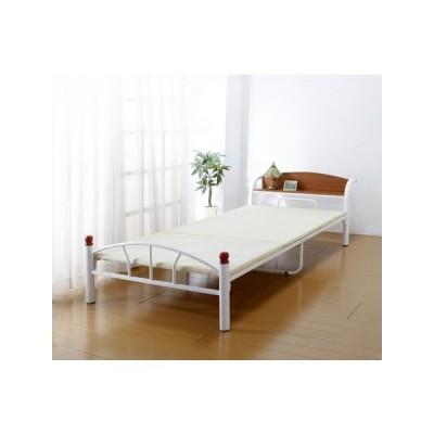 木製棚付きパイプベッド シングル(引出しなし) ホワイト ds-2173903 送料無料