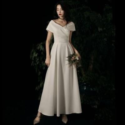 ウェディングドレス 花嫁 二次会 ドレス 白 ロングドレス 袖あり 結婚式 ウェディングドレス 大きいサイズ 3l 4l 小さいサイズ vネック