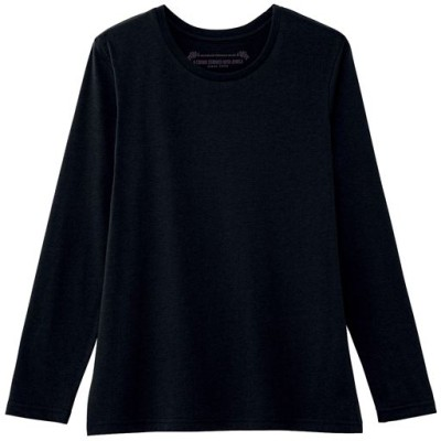 シンプルクルーネックTシャツ(長袖)(洗濯機OK)/ブラック/LL