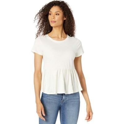 ボボウ Bobeau レディース Tシャツ トップス Short Sleeve Top w/ Peplum Hem Antique White