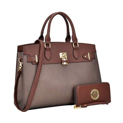 Women's Handbags Fashion Signature Top Handle Handbag 2 Pcs Set Satchel with Wallet, 6876-Coffee