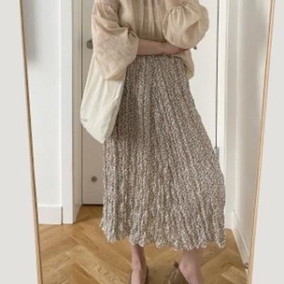 ボトムス スカート プリーツ 小花柄 ロング 大人可愛い おしゃれ お出かけ デート