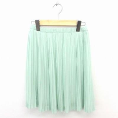 【中古】アナザーエディション アローズ スカート プリーツ ひざ丈 無地 シンプル ウエストゴム 薄緑 ライトグリーン