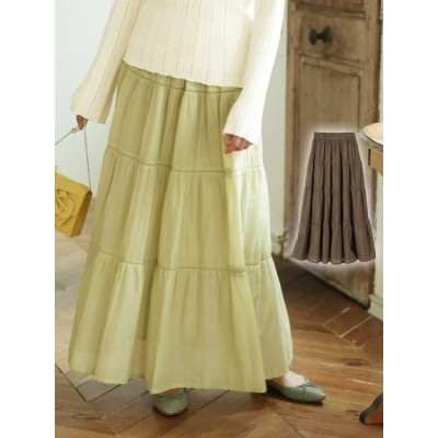 【大きいサイズ】大きいサイズ 綿100%ティアードロングスカート 大きいサイズ スカート レディース