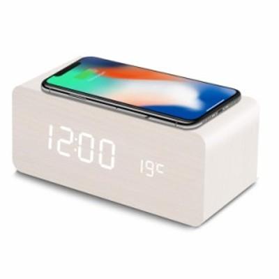KA-00317置き時計 QIワイヤレス充電機能 目覚まし時計 アラームクロック USB給電 android iphone 充電器 iPhone8以上対応 音声感知