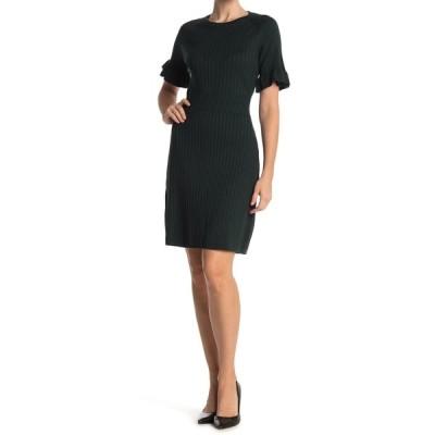 カルバンクライン レディース ワンピース トップス Ribbed Ruffle Sleeve Sweater Dress MALACHITE