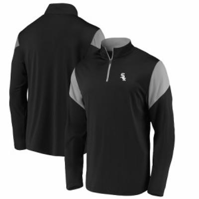 """ファナティックス メンズ ジャケット """"Chicago White Sox"""" Fanatics Branded Primary Logo Quarter-Zip Jacket - Black"""