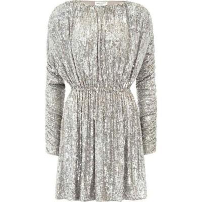 イヴ サンローラン Saint Laurent レディース パーティードレス ワンピース・ドレス Sequined minidress Silver