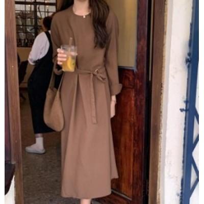 韓国 ファッション レディース ワンピース ロング ワンピ リボン フレア ゆったり 大きいサイズ 長袖 シンプル 無地 大人可愛い カジュア