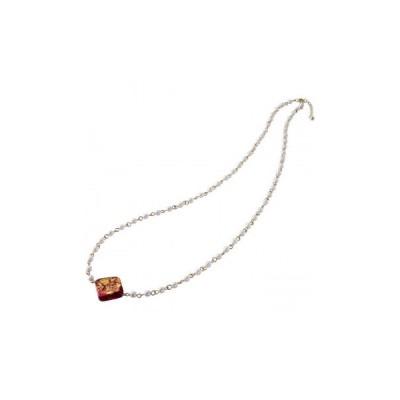 金箔ガラスネックレス 226-NR2(スクエアレッド) 3272-033