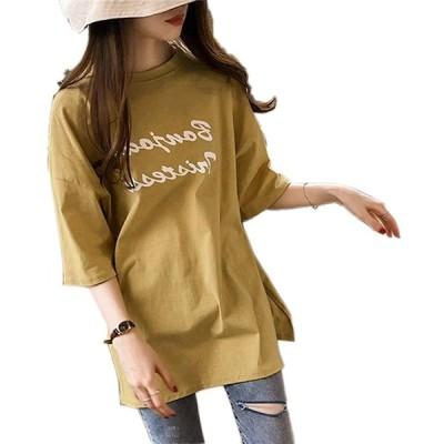 [ Big laugh (ビッグラフ) ] カラー Tシャツ ロゴ 半袖 半端 ゆったり スリット カジュアル バッグ サングラス スポーツタイツ 涼