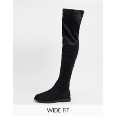 エイソス レディース ブーツ・レインブーツ シューズ ASOS DESIGN Wide Fit Kennedy flat knee boots in black Black