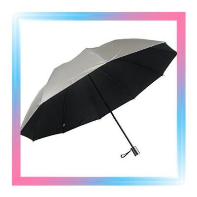 65折 表シルバー/裏黒 男性用の日傘 特大 折りたたみ傘 UV99%カ