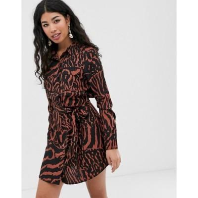 ブレーブソウル レディース ワンピース トップス Brave Soul alexia shirt dress in tiger print