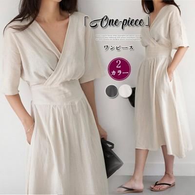 ロング ワンピース 半袖 韓国ファッション おしゃれ 無地 レディース ゆったり オシャレ カジュアル レディース