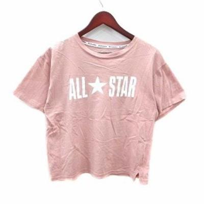 【中古】コンバース CONVERSE Tシャツ カットソー ロゴ 半袖 M ピンク /YK レディース